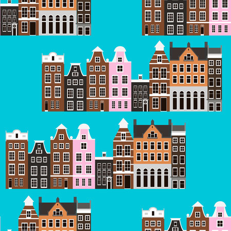 Seamless pattern with Amsterdam houses vector illustration Illustration