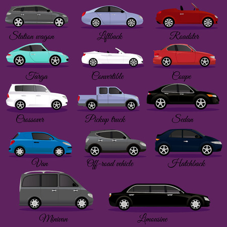 Set of car body types vector illustration