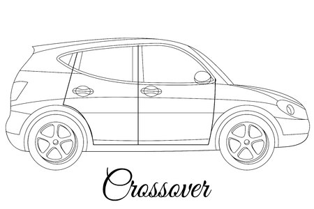 Crossover car body type outline vector illustration 向量圖像