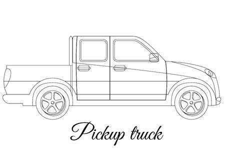 light duty: Pickup track car body type outline Illustration