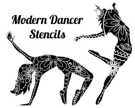 Modern dancer stencils Ilustracja