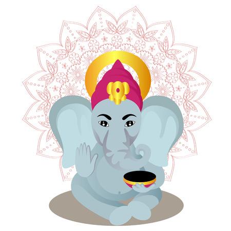 Ganesha cartoon on mandala background vector illustration Illustration