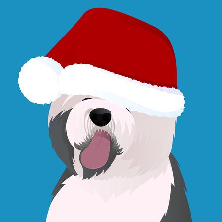 Old English Sheepdog close up in Santa cap vector illustration