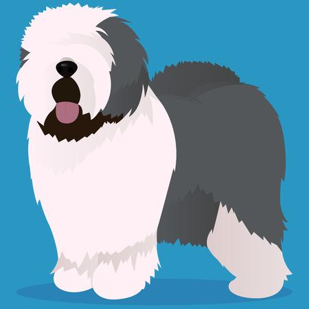 旧英語牧羊犬のベクトル図 写真素材 - 87466834