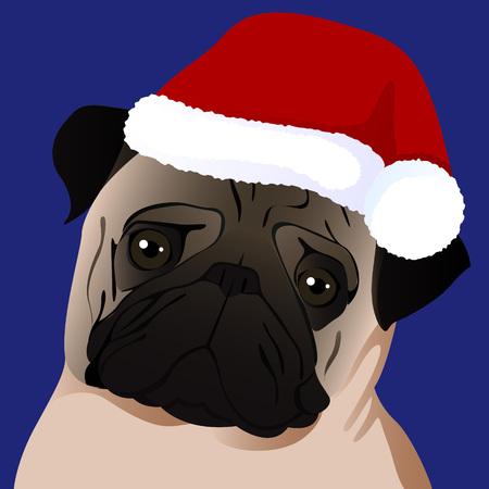 A pug close up in Santa cap vector illustration.