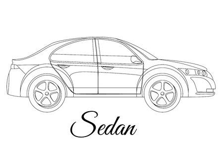 Sedan, saloon car body type outline vector illustration