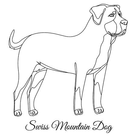 Swiss Mountain dog outline vector illustration Illustration