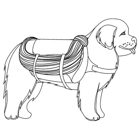 Ilustración De Vector De Contorno De Perro De San Bernardo ...