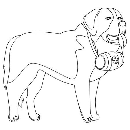 St Bernard dog lifesaver outline vector illustration Ilustração