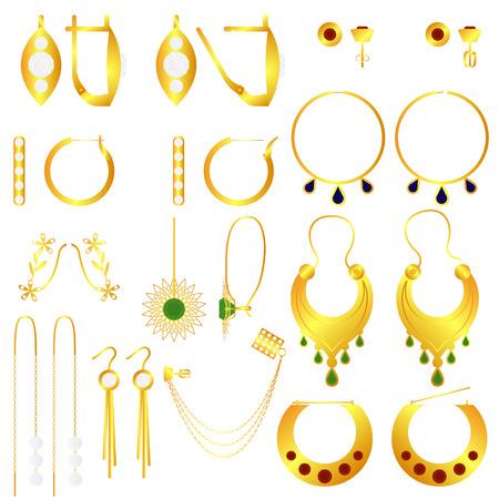 Earring clasp types golden earrings vector set