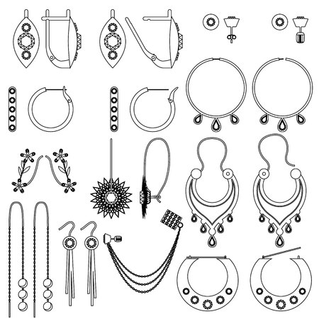 Earring Clasps Types Outline Royalty Free Cliparts Vectors And