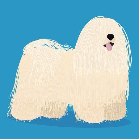 Puli dog cartoon vector illustration. Illustration
