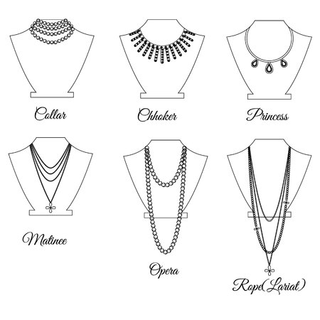 Types of necklaces by length outline