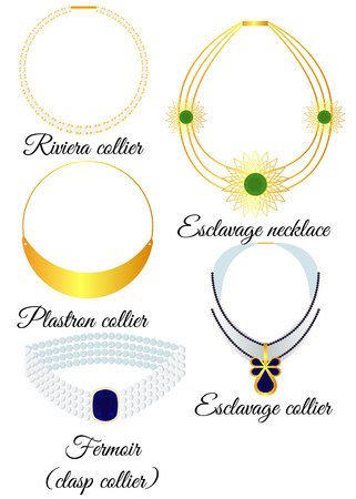 Types of necklaces in appearance vector illustration