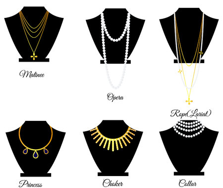 Types of necklaces by length vector illustration Çizim