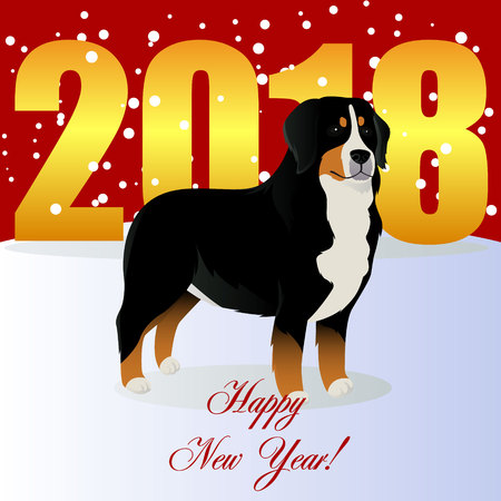 Happy new year card with Bernese mountain dog.
