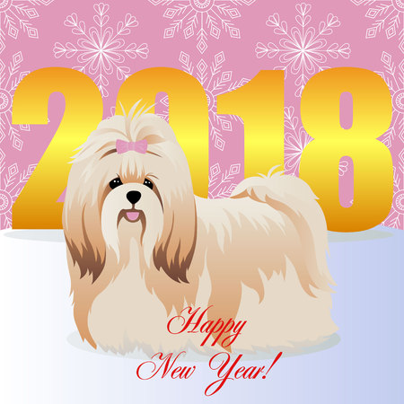 Happy new year card with Shih tzu