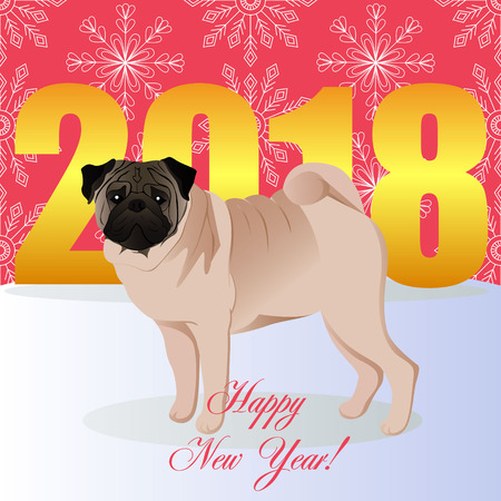 Happy new year card with pug vector