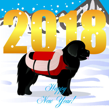 Happy new year card with new found land lifesaver.