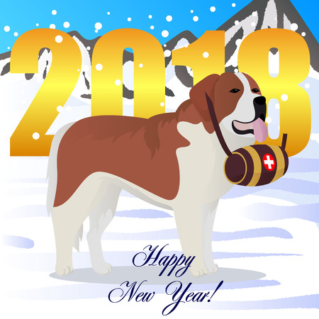 Happy new year card with St Bernard dog lifesaver.