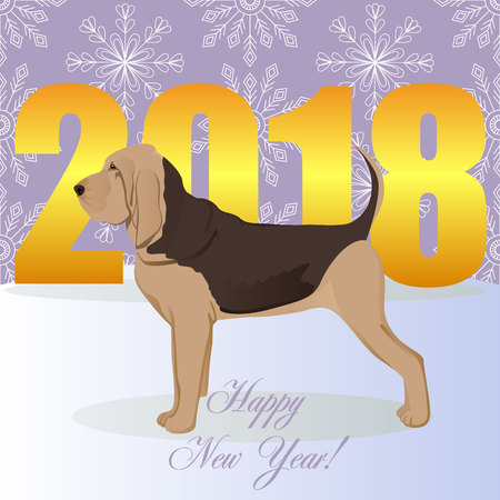 Happy new year card with bloodhound.