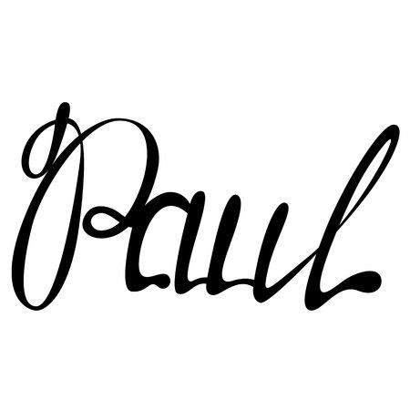 ポール手のレタリングイラスト。  イラスト・ベクター素材