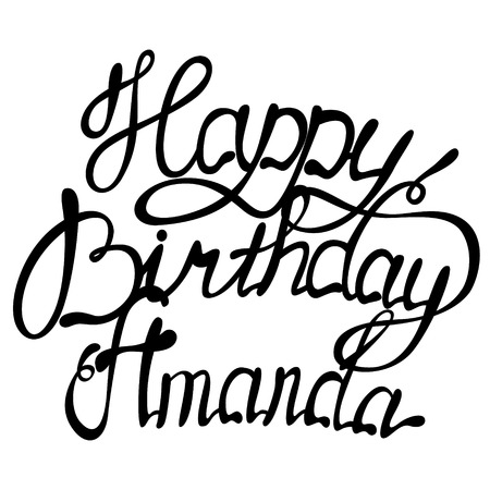 Vector Happy birthday Amanda name lettering Stock Vector - 92918395