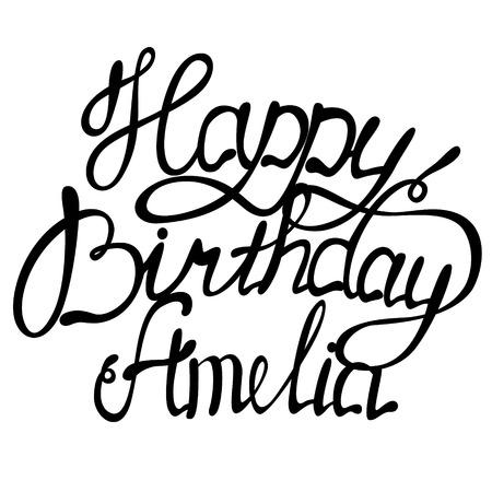 Vector Happy birthday Amelia name lettering