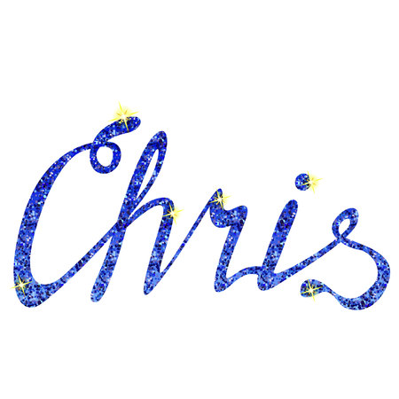 Vector Chris name lettering tinsels