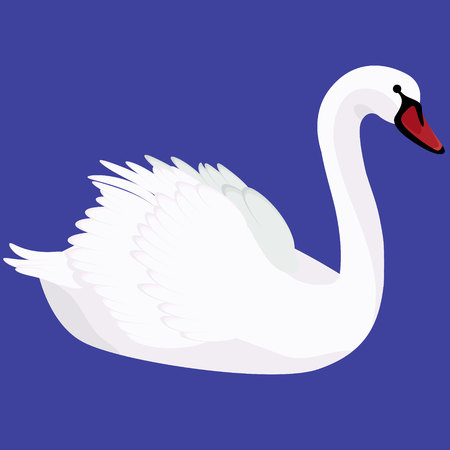 Mute swan iconic symbol on blue vector illustration