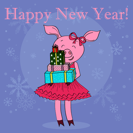 Happy new year card cartoon pig with gifts