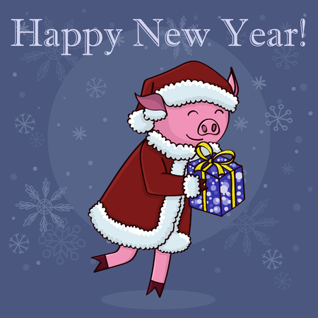 Happy new year card cartoon pig with gift  イラスト・ベクター素材