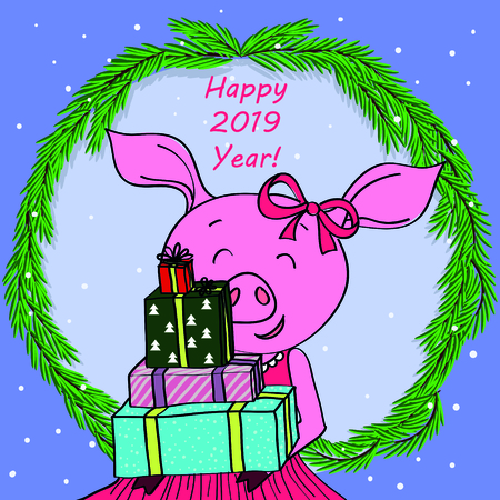 Happy new year card cartoon pig in spruce, branches  イラスト・ベクター素材