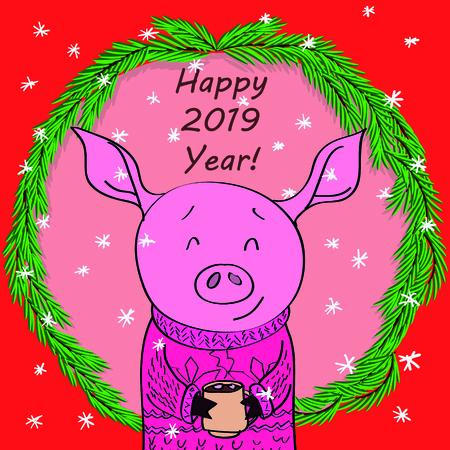 Happy new year card cartoon pig with cocoa in spruce, branches