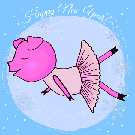Happy new year card cartoon pig ballerina