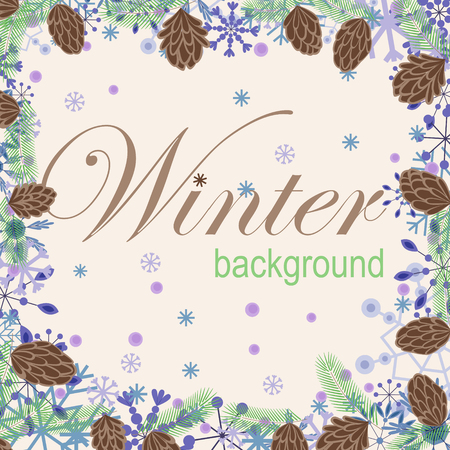 Winter background with snowflakes and cones