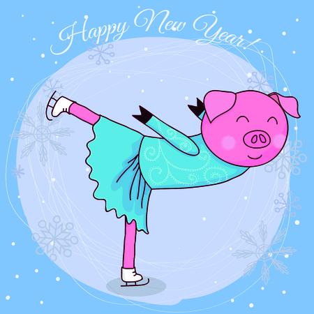 Happy new year card cartoon pig skater vector illustration