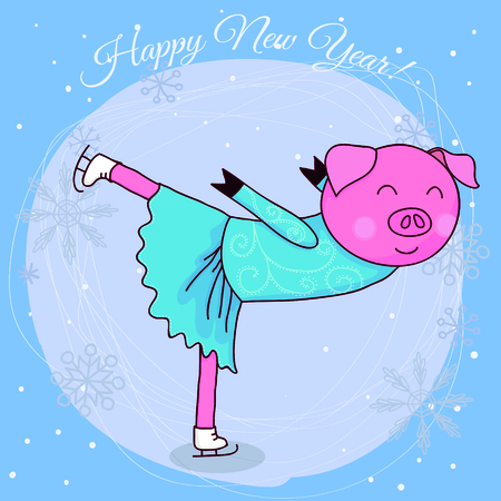 Happy new year card cartoon pig skater 写真素材