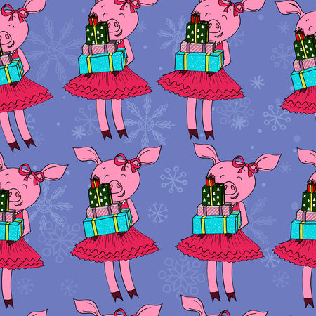 pig with gifts pattern seamless vector illustration