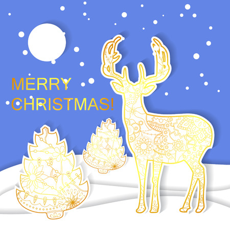 Paper christmas card vector Ilustrace