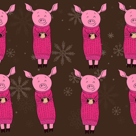 pig with cocoa pattern seamless vector illustration