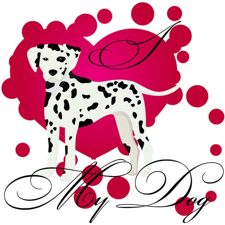 I love my dalmatian vector illustration Standard-Bild - 127138934