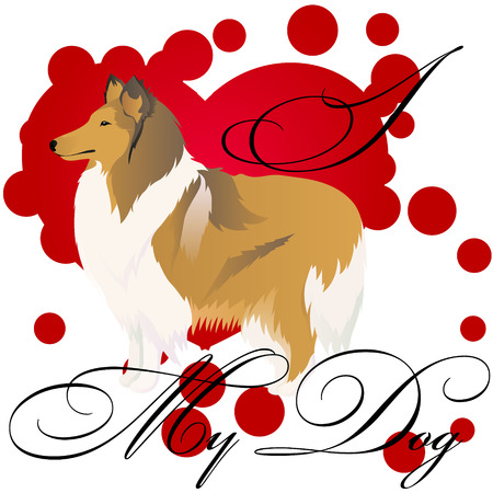 I love my collie vector illustration