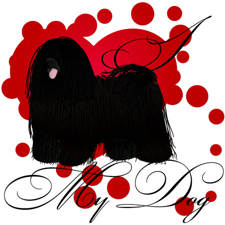 I love my puli vector illustration