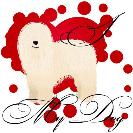 I love my komondor vector illustration Standard-Bild - 126316039