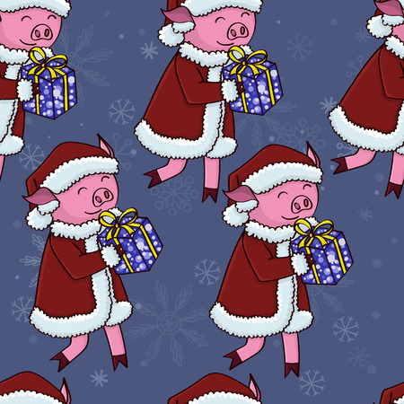 Santa pig with gifts pattern