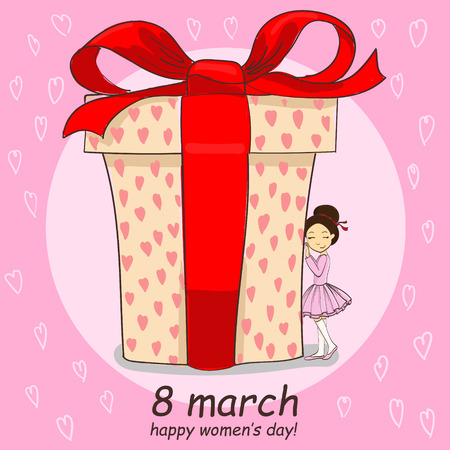 8 march hand drawing vector card with little girl and big gift