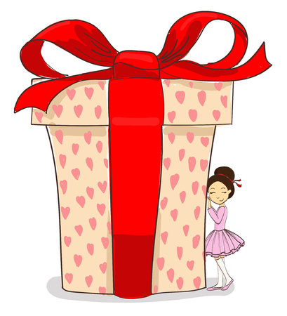 hand drawing vector little girl and big gift Иллюстрация