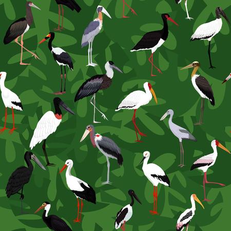 storks seamless pattern cartoon vector illustration