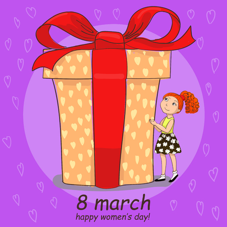 8 march hand drawing card with girl is watching on the big gift
